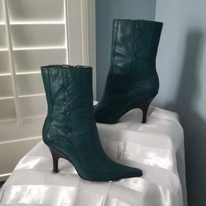 Bronx Teal Leather Booties